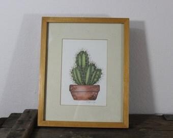 Framed Cactus Print - Vintage