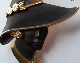 Vintage Unsigned Goldtone/Black Lady wearing Black Hat Brooch/Pin    Stunning