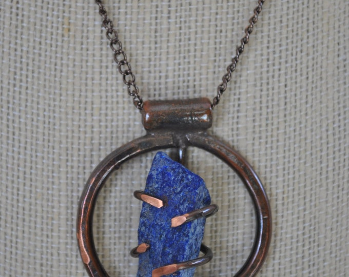 Genuine Lapis Lazuli stone and copper pendant necklace, rustic,  metal necklace