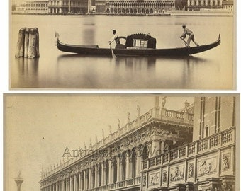 Venice Italy Grand Canal gondola and Palazzo Reale 2 antique albumen photos