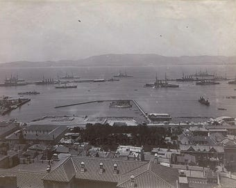 Gibraltar port aerial view panorama ships boats antique 19th century photo