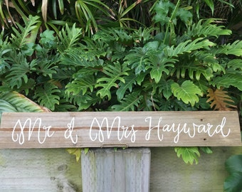 Custom Mr & Mrs Rustic Timber Hand Painted Wedding Sign