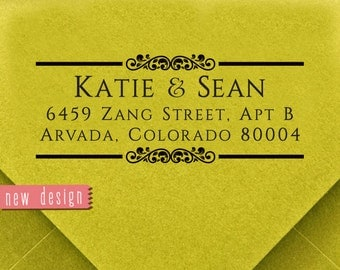 CUSTOM address STAMP from USA, pre inked stamp, Wedding Stamp, rsvp stamp, return address stamp with proof - Custom Address Stamp c6-27
