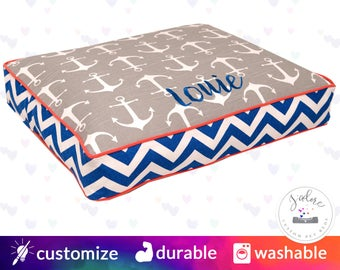 Nautical Dog Bed | Anchors, Chevron, Ash Gray, Cobalt Blue, Coral | Design Your Own!