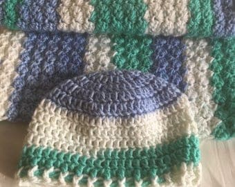Custom, Baby Boy Blanket Set, Baby Hat and Blanket, Striped Blanket, Matching Hat & Blanket, Baby Shower Gift, Knit Beanie, Photo Prop