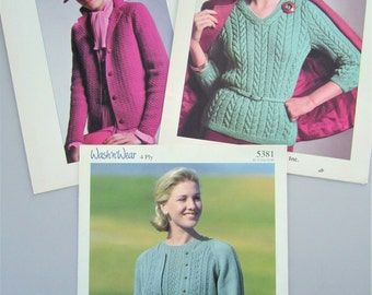 J & P Coats and Sirdar Vintage Sweater Pattern Leaflets - Three 3 Leaflets - Six 6 Patterns - Early 1980s