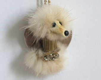 Vintage Fur Dog Necklace // white puppy jewelry with rhinestone collar on heart signed by Janet