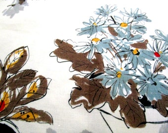Vintage Tablecloth, Table Cloth, Potted Florals, Mid Century Tablecloth, Cotton Linen Blend, Square 50 X 50