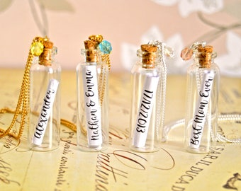 Personalized name or message in a bottle necklace - Bridesmaid gift, mothers day gift, wedding gift, baby kids name necklace