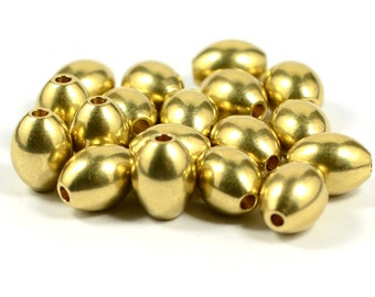 5 Pcs.  Solid Raw Brass   10x12.45 mm  Oval Brass Bead , Hole Size 2.6 mm
