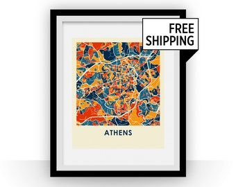 Athens Georgia Map Print - Full Color Map Poster