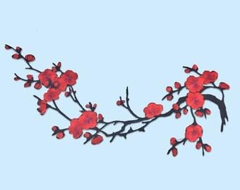 Pièce patch floral cherry blossom red XXL / DIY ironfix appliques and coat textile / malicious shop