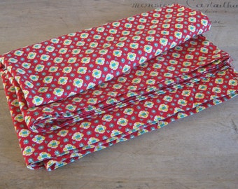 red provencal fabric, traditional French cloth for repurposing