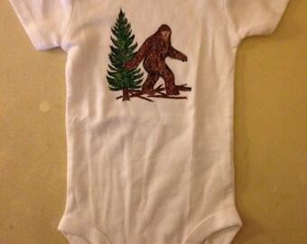 Baby Onesie Big Foot Sasquatch Design Hand Painted sizes 3 mon to 18 mon