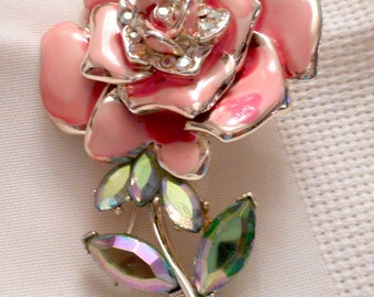 BSK Enamel Pink Rose Brooch Gold Tone-c1960-Signed-Large-Very Collectible-VTG