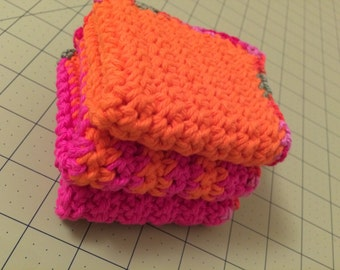Crocheted cotton washcloths
