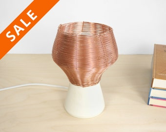 Copper braided side lamp - bedside lamp - desk light desk lamp copper table lamp - cosy light - handmade lampshade - copper lampshade