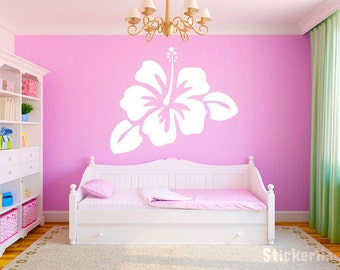 "Hibiscus Flower 26""x22"" Vinyl Wall Decal Graphics Girls Bedroom Living Room Home Decor"