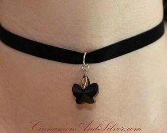 Black Velvet Ribbon and Swarovski Crystal Butterfly Romantic Ribbon Choker Necklace, Simple Crystal Butterfly Ribbon Choker Necklace