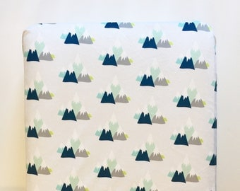 Mountain adventure crib sheet - silver gray navy blue mint aqua citron - woodland little man camping nature nursery - boy baby shower gift