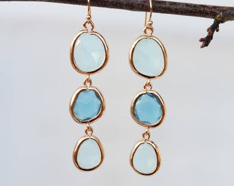 Blue Quartz Earrings - Dangle Earrings - Gold Earrings - Drop Earrings - Birthstone Earrings - Quartz Jewellery - Blue Earrings - Quartz