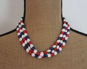 """Vintage 1960's 52"""" Long Red White And Blue Beaded Necklace"""