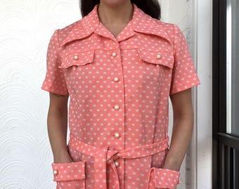 1970s Belted Polka Dot Smock Shirt