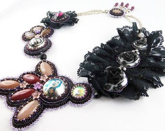 Necklace, Bead Embroidery, Gothic, Goth
