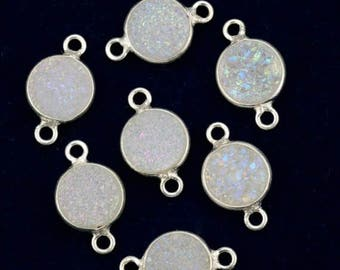 4th July 30% OFF Natural White Druzy, Bezel Round Shape Connector, 8mm Round Silver Plated, Double Bail 1pc (WZ-11200)