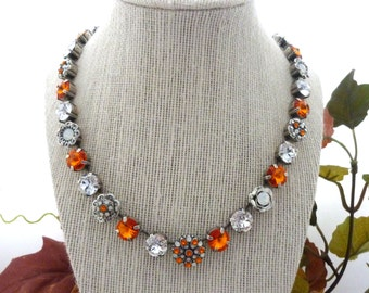 Swarovski Crystal Necklace, Orange and White. Tennessee Vols Colors, Team Spirit, Game Day Designer Inspired, Siggy Jewelry, FREE SHIPPING