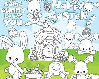 80% OFF SALE Easter Stamps, easter bunny stamps commercial use, vector graphics, digital clip art, digital images - DS947