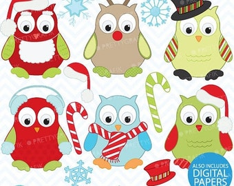 80% OFF SALE Christmas owls clipart, commercial use, vector graphics, digital clip art, digital images - Cl370