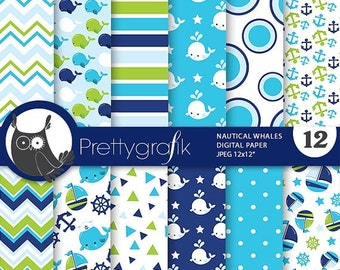 80% OFF SALE Nautical whale digital paper, nautical digital papers commercial use, blue scrapbook papers, background - PS804