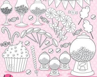 80% OFF SALE Candy digital stamp commercial use, black lines, vector graphics, digital stamp, digital images - DS707