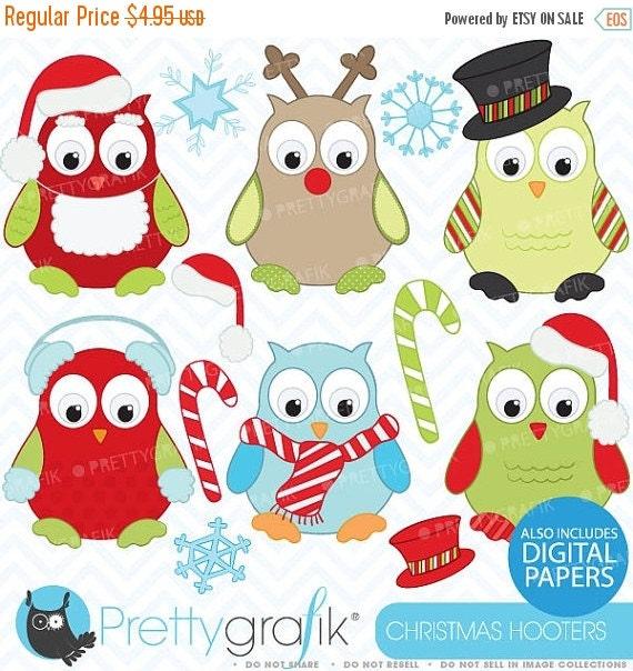 80% OFF SALE Christmas owls clipart, commercial use, vector graphics, digital clip art, digital images - Cl370