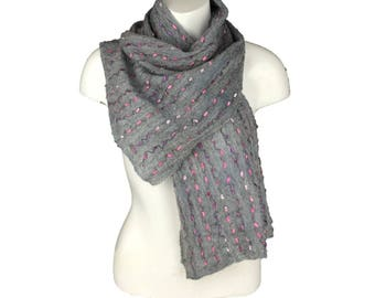 Grey nuno felted scarf with pink and purple ladder yarn embellishment