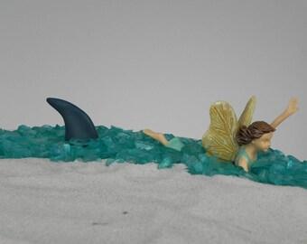 Miniature Shark Fin Pick Gray, swimming fairy, beach sign, beach garden supplies, terrarium supply, coastal, garden miniatures