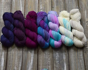 Yarn color KIT, Find Your Fade -  7 skeins combo - The vampire diaries