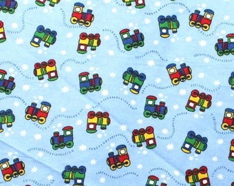 Trains on Blue Snuggle Flannel Fabric - One Yard - Flannel Fabric by the Yard