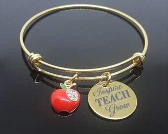 Teacher Gift - Gold Charm Bracelet - Teacher Jewelry  - Thank You Teacher - Teacher Bracelet - Small Teacher Gift - Inspire Teach Grow