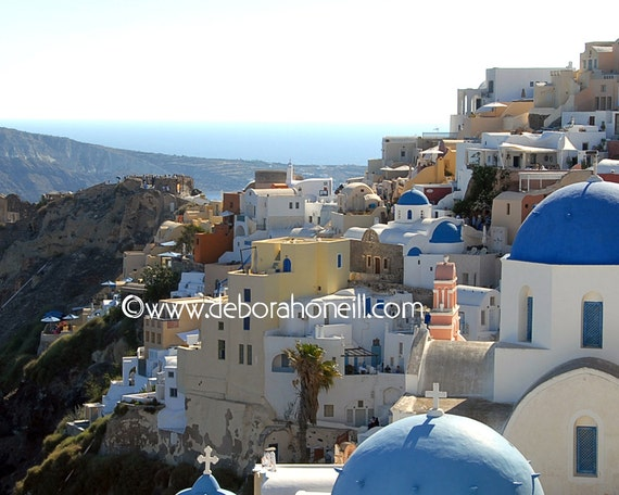"Greece Photography Santorini Greek island cliffs blue domes Oia ocean long view city ""Oia, Greece"""