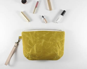 Waxed Canvas Bag, Mother's Day Gifts, Bridesmaid Clutch, Yellow Clutch, Waxed Canvas, Minimalist Handbag, Makeup Bag, Zipper Pouch