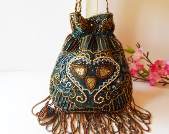 Beaded Evening Bag, Vintage Beaded Bag, Pouch Style, Shimmery Metallic Bag, Black Teal Purse, Beaded Handbag, Bead Pouch Bag,EB-0681