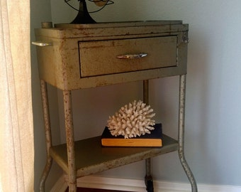 Vintage dental medical cart on wheels, bathroom decor, side table, industrial, home storage, furniture, nightstand