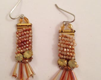 Romantic earring - peach color beads with crystal rainstone.