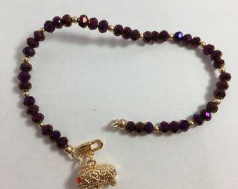 Lucky Bracelet 14k gold filled, Swarovski, elephant charm