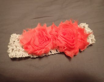 Shabby Chic Rose Soft, Wide Elastic Crochet Headband fits Infant through Adult White Band with Salmon Pink Roses