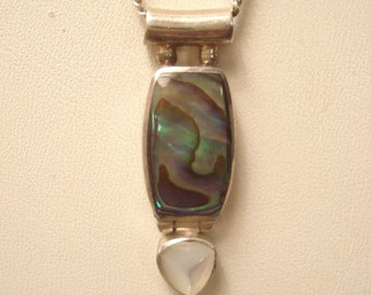 Beautiful Vintage SAJEN Abalone Mother Of Pearl Sterling Sliding Necklace