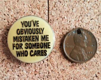I Don't Care Enamel Lapel Pin | Yellow & Black Pin | 1980s Punk