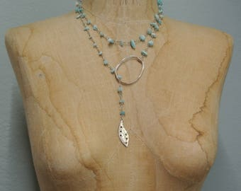 Turquoise Lariat Necklace, Wear multiple ways, Circle Boho Style,Delicate Sterling Plated Chain, Great Gift, One of a Kind By UPcycled Works